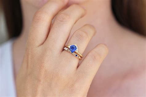 One Engagement Ring one carat sapphire ring with diamonds artemer