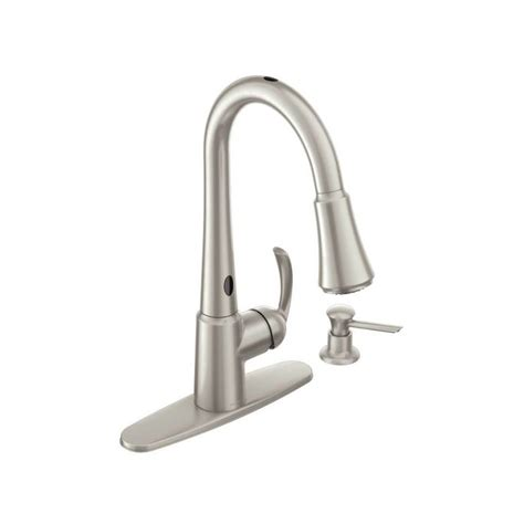 shop moen arbor with motionsense spot resist stainless 1 faucet com 87359e2srs in spot resist stainless by moen