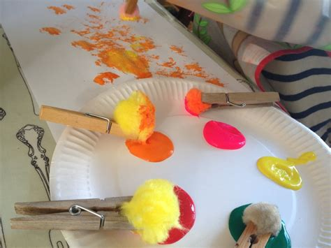 painting for kindergarten pom pom paint preschool pom pom painting image 3