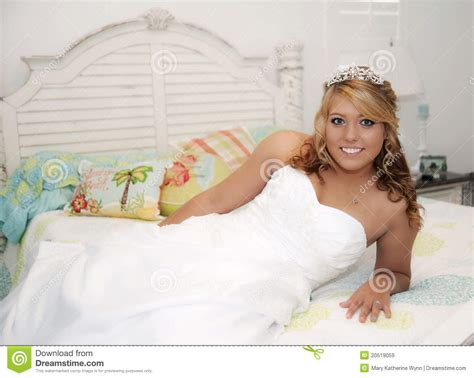 beautiful bride  bed royalty  stock images image