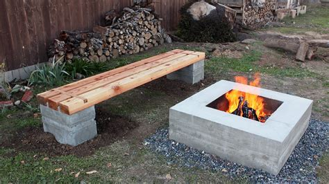 modest and cheap diy pit ideas with concrete materiel next to handmade bench in best diy