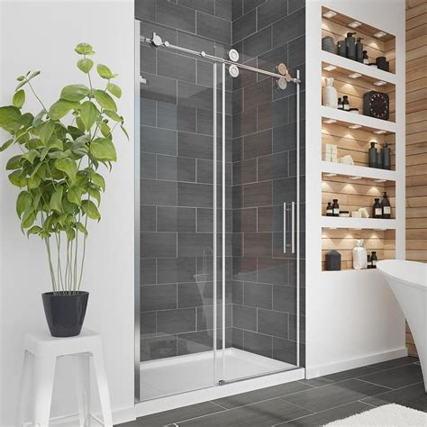 Sliding Glass Doors Shower Shop Ove Decors Sydney 45 In To 47 5 In W Frameless Polished Chrome Sliding Shower Door At Lowes