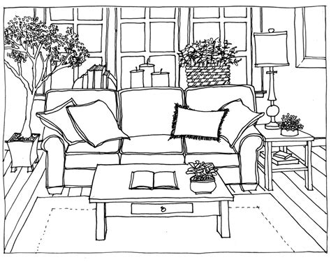 drawing room online marker color rendering drawing hand sofa 2 b w clipgoo