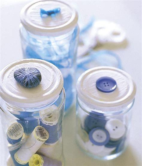 que puedo hacer con frasquitos de vidrio para un baby shower reciclado de envases organizador de costura