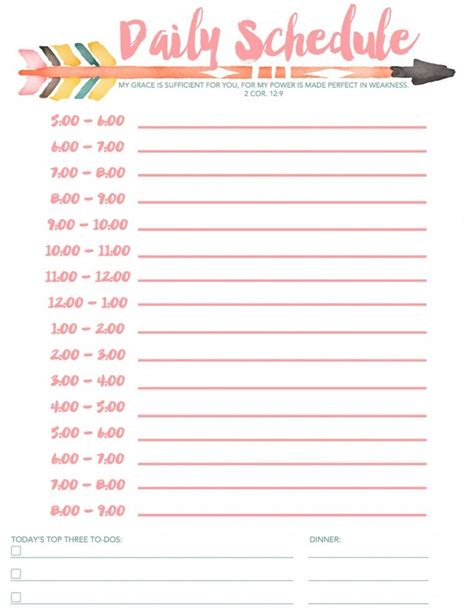 free printable daily schedule pages 25 best ideas about daily schedule printable on pinterest