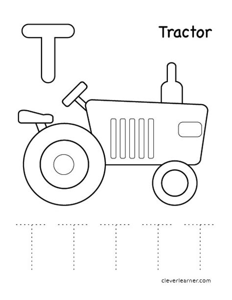 tractor coloring pages preschool letter t writing and coloring sheet