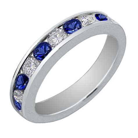 Wedding Bands Sapphire by 1 00 Ct Cut And Blue Sapphire Wedding Band Ring