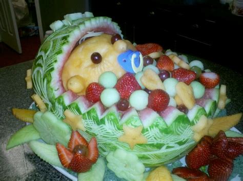 Baby Shower Watermelon Basket by A Watermelon Fruit Basket Carving Of A Baby Beauchs Social Gatherings Fruits
