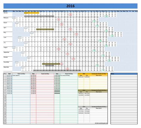 2016 Calendar Templates Microsoft And Open Office Templates Excel Calendar Template