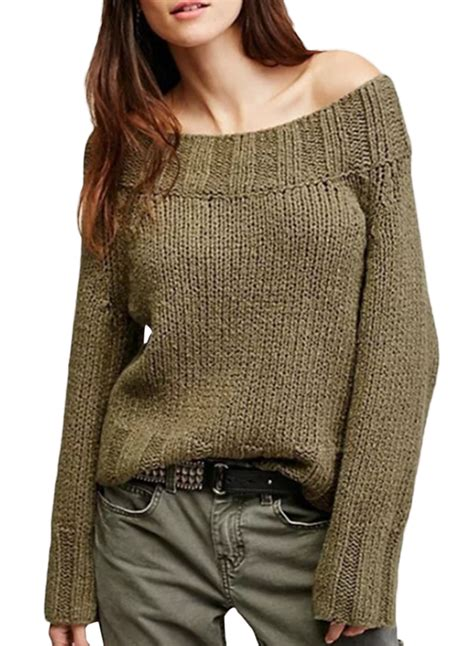 knitting pattern loose jumper off shoulder long sleeve loose knitted sweater azbro com