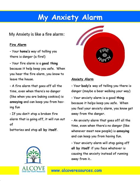 what can i give my for anxiety my anxiety alarm worksheet for alcove child and youth resources