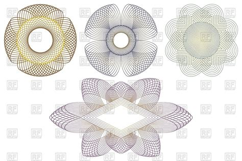 certificate design elements vector round guilloche elements and frames protective vignettes