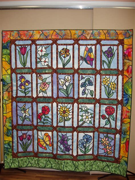 Stained Glass Patchwork Patterns - floral stained glass