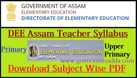 dee assam teacher syllabus  assam lp  exam pattern