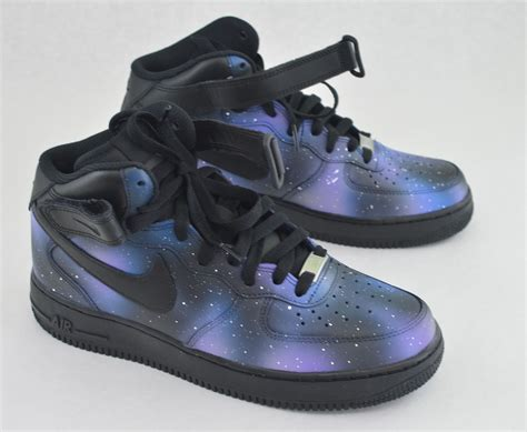 customize nike sneakers painted nike af1 mid galaxy sneakers custom galaxy