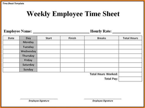 weekly time sheets templates enom warb co