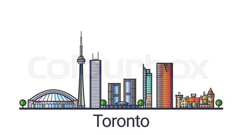 layout artist jobs toronto banner of toronto city skyline in flat line trendy style