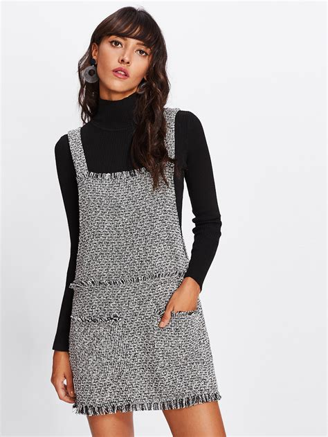 Overall Dress Diskon fringe detail tweed overall dress shein sheinside