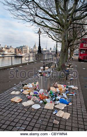 new year s thames river coffee cups and fast food wrappers in an overflowing