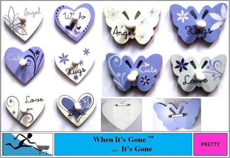 cute retro funky wooden heart butterfly door wall hooks ebay