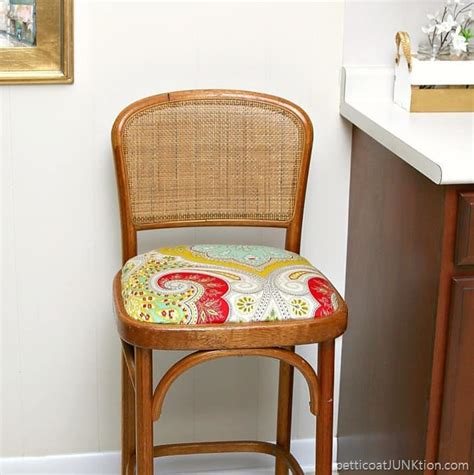 Bar Stool Fabric Covers by Recovered Bar Stool Seat Using A Fabric Shower Curtain Fabric