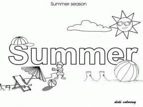 printable summer season shining sun enjoying beach coloring kids