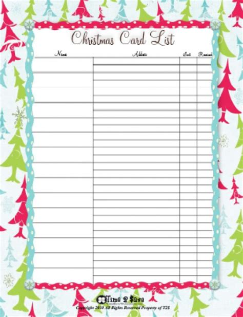 printable holiday card list christmas list printables hubpages