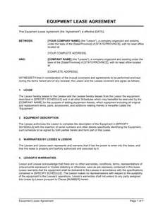 Equipment Lease Agreement Template South Africa by Equipment Lease Agreement Template Sle Form