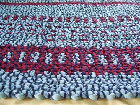 twined rag rug recycled t shirt cotton rag and blue