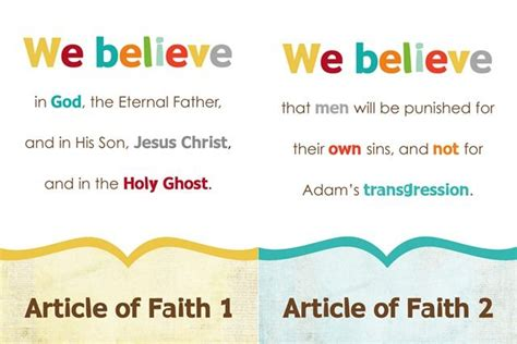 printable articles of faith 17 best images about lds nursey helps on pinterest the