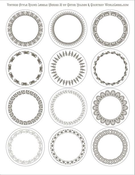 free printable editable vintage style round labels in 6