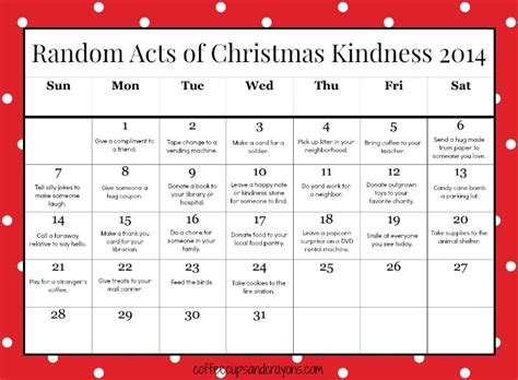 random acts of kindness template printable advent calendar for calendar template 2017