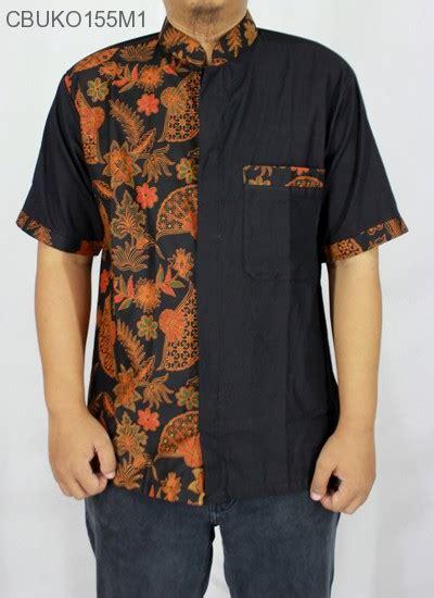 Satu Set Batik Pekalongan Printing Kipas Hitam koko batik katun motif kipas kemeja lengan pendek murah batikunik