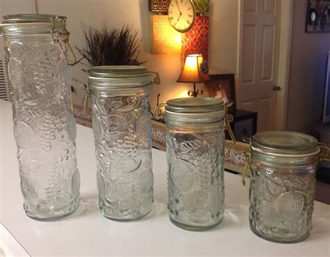 Green Kitchen Canisters by Vintage Glass Jars Canisters Embossed Fruit Locking Lids