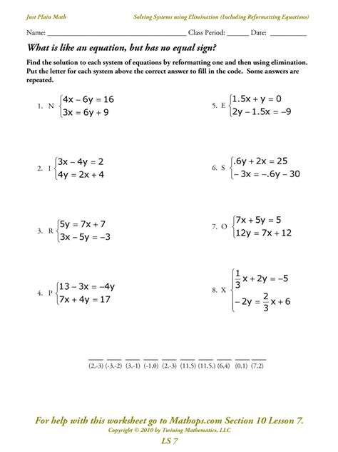 System Of Equations Worksheets solving systems of equations by substitution worksheet
