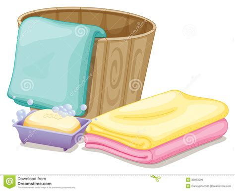A pail with towels and a soap in a soap box stock vector image 33073599