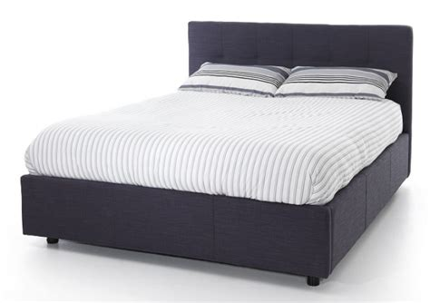 ottoman bed no headboard serene lucca 4ft6 double oxford blue fabric ottoman bed