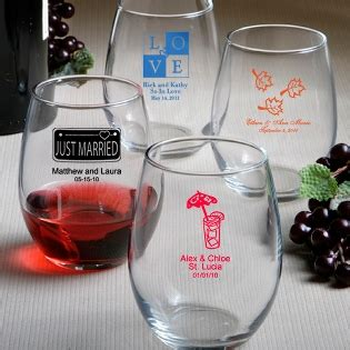 Wedding Favors Glassware by Stemless Wine Glass Favors Personalized Favors