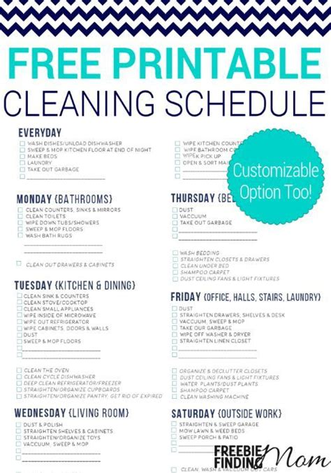 printable housekeeping schedule free printable cleaning schedule everything weekly