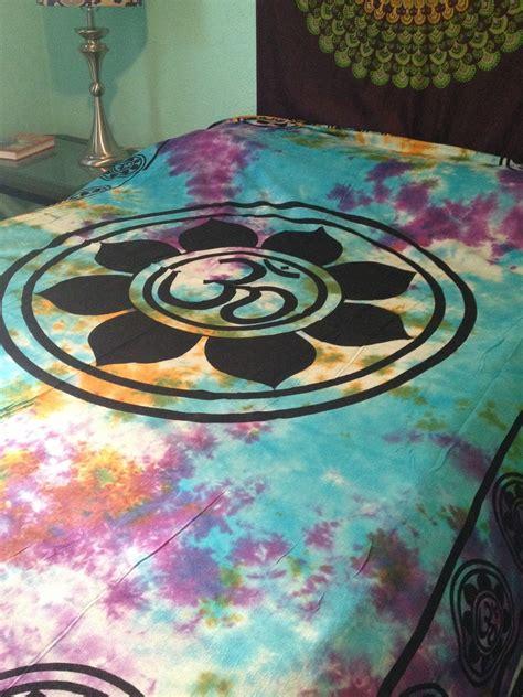 hippie bed sheets om aum yoga indian lotus flower india hippie boho tie dye