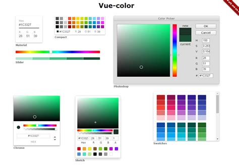 color js color pickers for sketch photoshop more with vue js