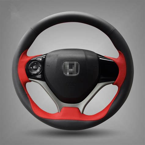 honda civic steering wheel cover stitched black leather steering wheel cover for