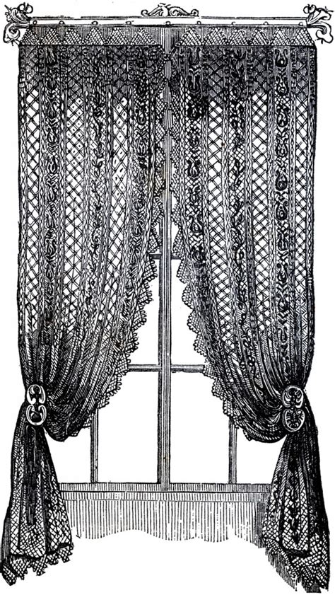 art curtains vintage lace curtains clip art the graphics fairy