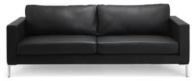 Portobello black leather 3 seat couch modern sofas