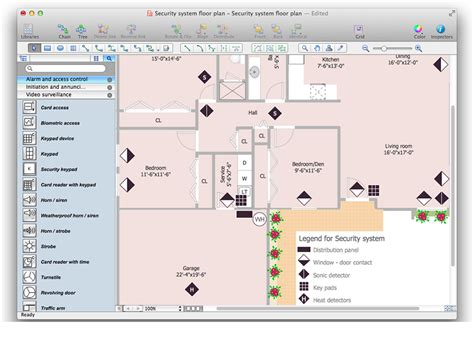 security floor plan creating a security and access floor plan conceptdraw helpdesk