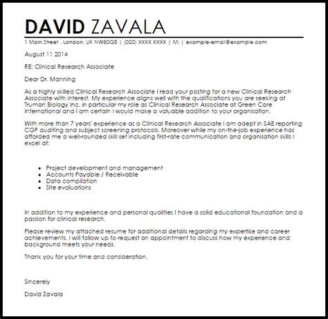 clinical research associate cover letter sample livecareer - Clinical Research Assistant Cover Letter