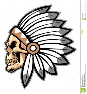 cartoon of indian chief skull stock photography image