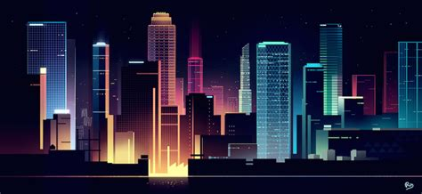 beautiful vibrant illustrations  city skylines