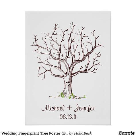 Hochzeit Fingerabdruck by Hochzeits Fingerabdruck Baum Plakat Brown Poster