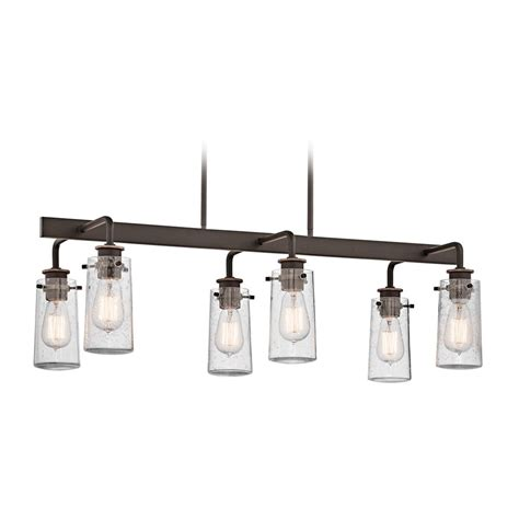Glass Island Lights Kichler Linear Chandelier With Clear Glass In Olde Bronze 43059oz Destination Lighting